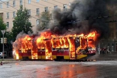 ВДнепре ввоскресный день горел трамвай